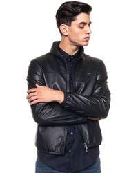 Emporio Armani Leather Harrington Jacket Black Leather