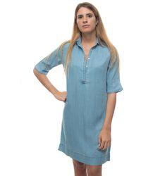 U.S. POLO ASSN. Cotton Shirtwaister-dress Sky Blue Lyocell