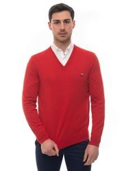 Brooks Brothers V-neck Pullover Red Cotton
