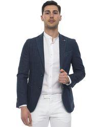 Angelo Nardelli Jacket With 2 Buttons Dark Denim Cotton - Blue