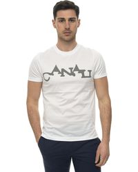 Canali Short-sleeved Round-necked T-shirt White Cotton