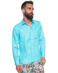 Vincenzo De Lauziers Long-sleeved Linen Shirt - Blue