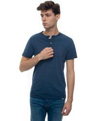 Brooksfield Grandad Neck T-shirt Blue Cotton