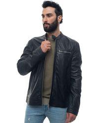 Peuterey Saguaro Leather Harrington Jacket Blue Leather