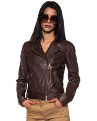 Pennyblack Nabucco Biker Jacket Cioccolato Leather - Brown