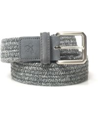 Canali Rope Belt Light Gray Leather