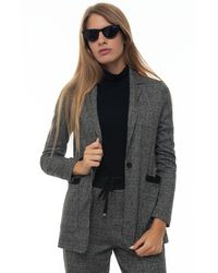 Pennyblack Raffaele Long Jacket With 1 Button Gray Viscose