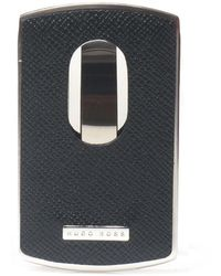 BOSS by HUGO BOSS Metal Card Case With Leather Trim: 'signature Metal_card' - Black