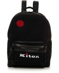 Kiton Zaino di tessuto Nero