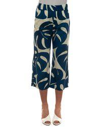 Seventy Pantalone cropped Bluette/Naturale Cotone