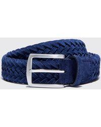 SCAROSSO Cintura Blu Intrecciata Scamosciata - Blue