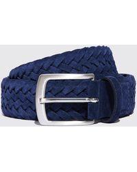 SCAROSSO Cintura Abisso Intrecciata Scamosciata - Blue