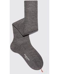 SCAROSSO Socken Italian Shoe Grey Wool Knee Socks - Grau