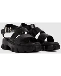 Schuh Tamia Croc Chunky Cleated Sandals - Black