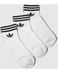 adidas White & Black Trefoil Ankle Sock 3pk