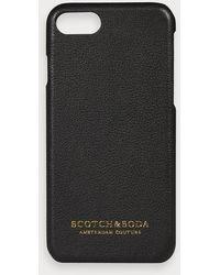 Scotch & Soda Iphone-hoesje Met Leren Coating - Zwart