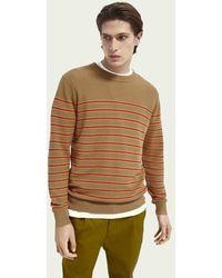 Scotch & Soda Gestructureerd Gebreide Sweater Met Ronde Hals - Bruin