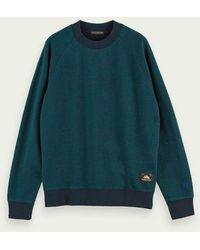 Scotch & Soda Gemêleerde Sweater Met Ronde Hals Van Katoen - Groen