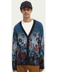 Scotch & Soda Vest Van Een Katoenmix Met Jacquard Inzetstukken - Blauw