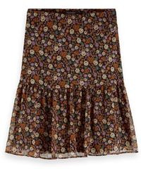 Scotch & Soda Pleated Hem Mini Skirt - Brown