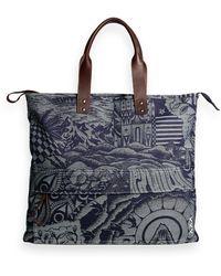 Scotch & Soda Sketch Pattern Tote Bag - Blue