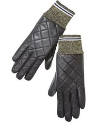 Scotch & Soda Quilted Rib Leather Gloves - Gray