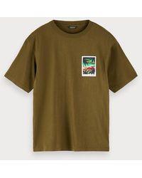 Scotch & Soda T-shirt Met Artworkdetail - Groen