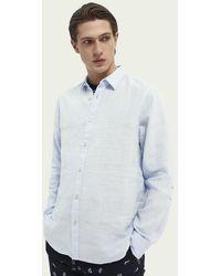 Scotch & Soda Garment-dyed Linnen Overhemd - Blauw