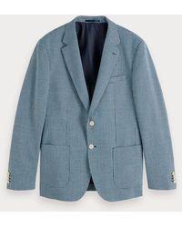 Scotch & Soda Blazer Met Yarn-dyed Patroon - Blauw