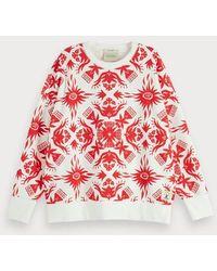 Scotch & Soda Sweater Met Tropische Print - Rood
