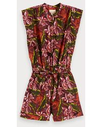 Scotch & Soda Playsuit Met Bloemenprint - Roze