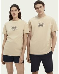 Scotch & Soda Born To Love Unisex Grafisch T-shirt Van Biologisch Katoen - Naturel