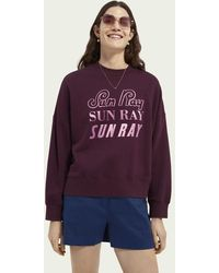 Scotch & Soda Oversized Zachte Sweater Met Artworkprint - Paars