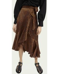 Scotch & Soda Printed Ruffled Wrap Skirt - Brown