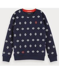 Scotch & Soda Sweater Met All-over Print - Blauw