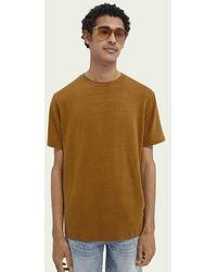 Scotch & Soda - Jersey T-shirt Van Een Linnenmix - Lyst