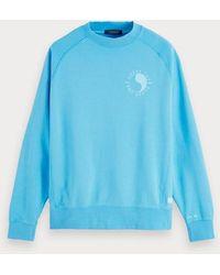 Scotch & Soda Sweater Met Logo-artwork - Blauw