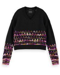 Scotch & Soda V-neck Wool-blend Patterned Pullover - Black