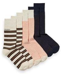 Scotch & Soda Ribbed Cotton-blend Socks - Blue