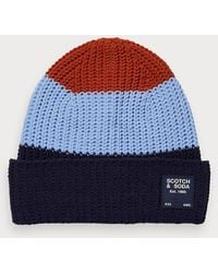 Scotch & Soda Colourblock Gebreide Beanie - Blauw