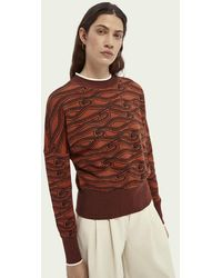 Scotch & Soda Sweater Met Print - Bruin