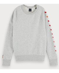 Scotch & Soda Sweater Met Ronde Hals En Artwork - Grijs