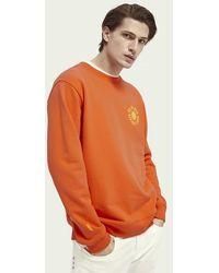 Scotch & Soda Lichtgewicht Sweater Van Biologisch Katoen Met Graphic - Oranje
