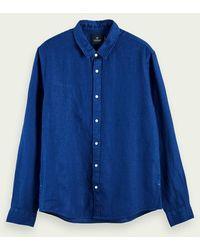 Scotch & Soda 100% Linnen Overhemd Met Lange Mouwen - Blauw