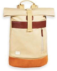 Scotch & Soda Leather-trimmed Canvas Backpack With Roll-top Closure - Natural