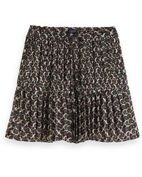 Scotch & Soda Pleated Mini Skirt With All-over Print - Multicolour