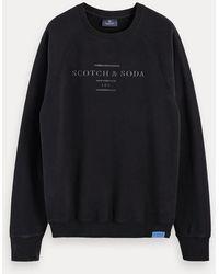 Scotch & Soda Logosweater Met Lange Mouwen En Ronde Hals - Zwart