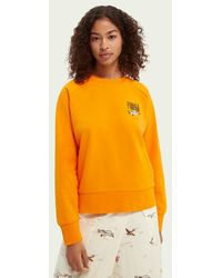 Scotch & Soda Grafische Sweater - Oranje