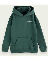 Scotch & Soda Sweat-shirt à capuche en coton imprimé du logo - Vert