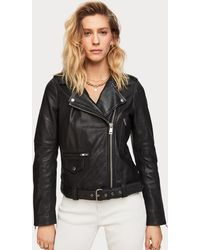 Scotch & Soda Classic Leather Biker Jacket - Black